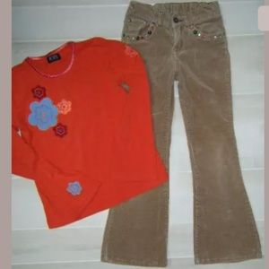 The Children's Place Orange Flower Top Cord Pants